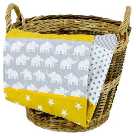 Dětská přikrývka Ullenboom & plyšová deka 100X140 cm slon žlutá