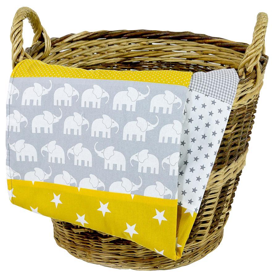 Ullenboom Manta para bebé y manta de peluche 100X140 cm amarillo elefante