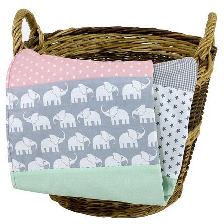 Ullenboom Koc dla dzieci i przytulny koc 100X140 cm słoń. Mint Rosa