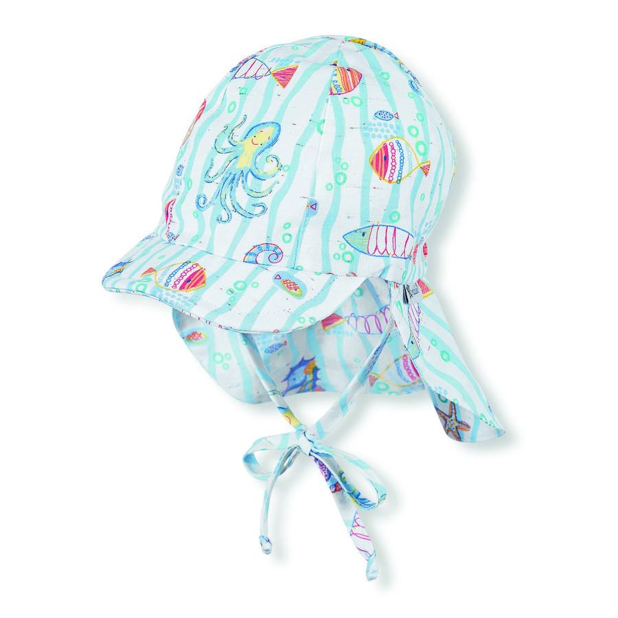 Sterntaler Boys Schirmmütze mit Nackenschutz weiß/blau