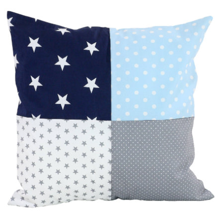 Ullenboom Taie d'oreiller enfant patchwork bleu bleu clair gris 40x40 cm