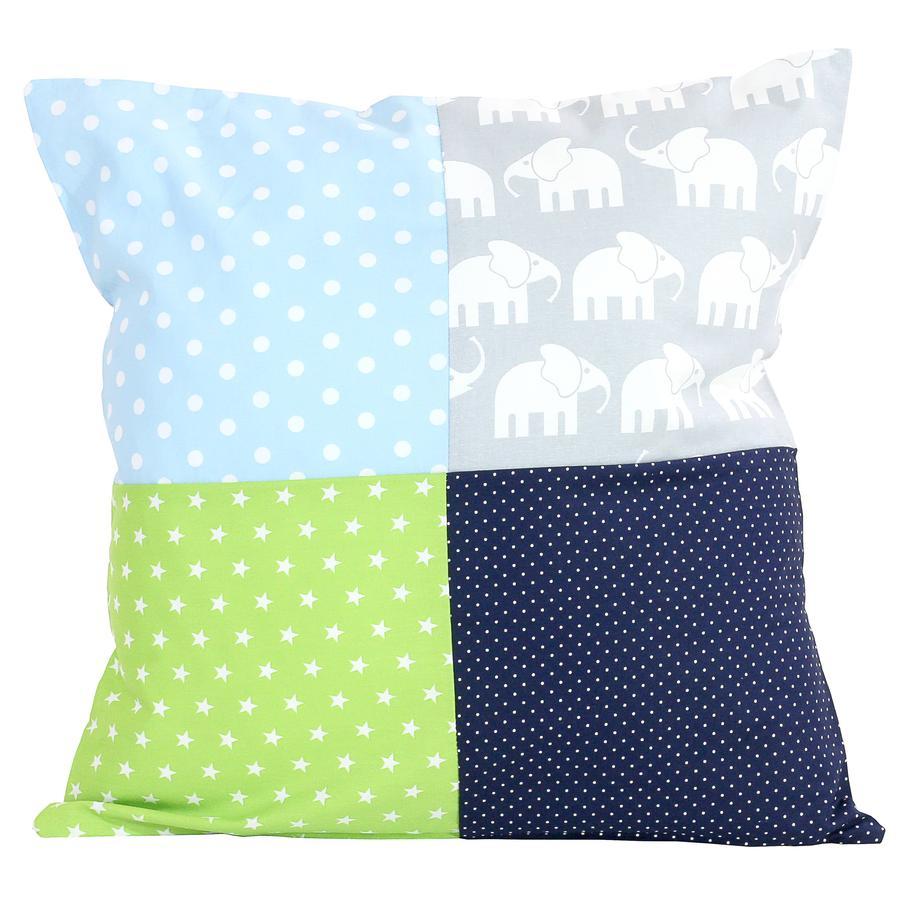 Ullenboom Taie d'oreiller enfant patchwork éléphant bleu vert 40x40 cm