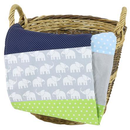 Ullenboom Manta para bebé y manta de peluche 70X100 cm elefante azul verde