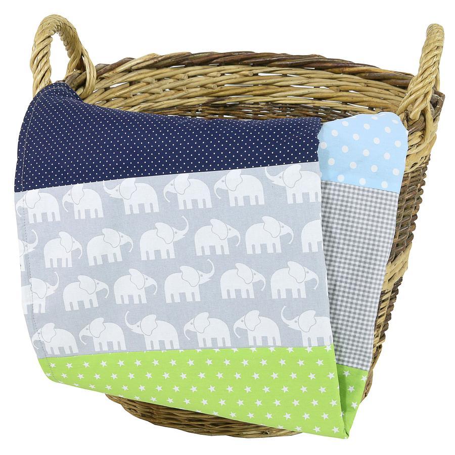 Dětská přikrývka Ullenboom & plyšová deka 70X100 cm slon modrá zelená