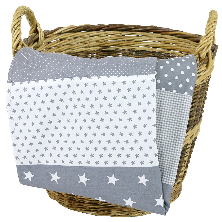 Ullenboom Manta de bebé y manta de peluche 70X100 cm estrellas grises