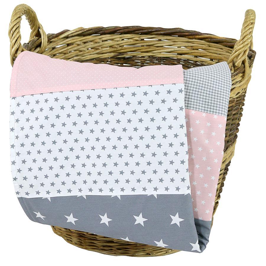 Ullenboom Couverture bébé rose/gris 70x100 cm