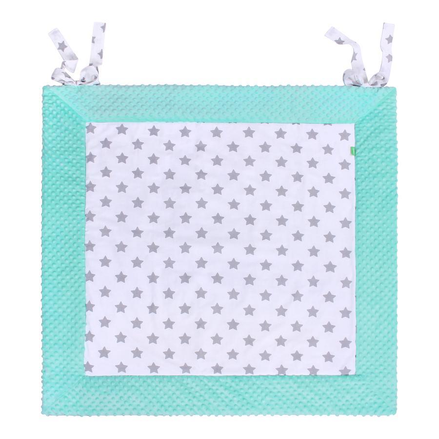 LULANDO Tapis d'éveil Play-Mat menthe étoiles blanc 120x120 cm