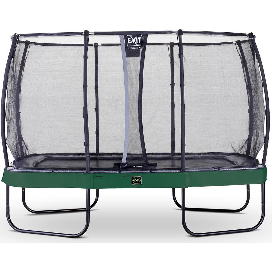 EXIT Trampolin Elegant Premium 244x427cm mit Deluxe Sicherheitsnetz - grün