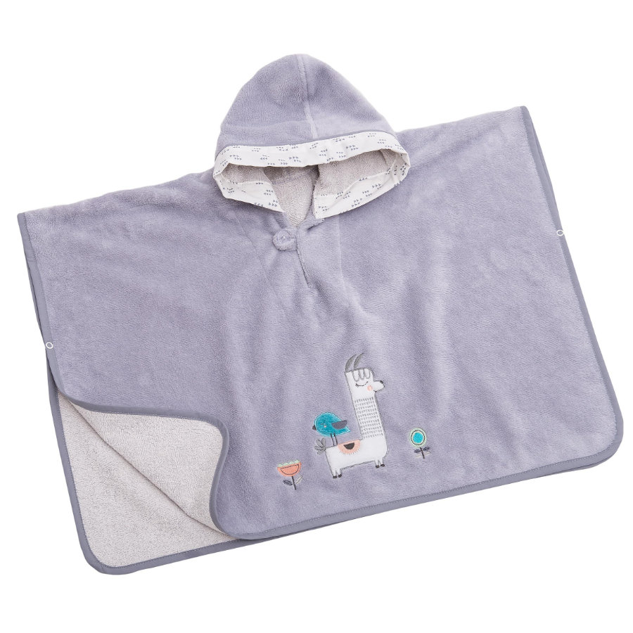 BeBes Collection Poncho de bain enfant capuche lama gris