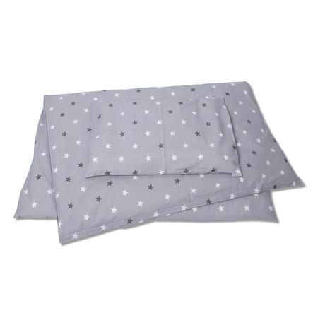 HOBEA Baby sengelinned stjernemønster grå hvid