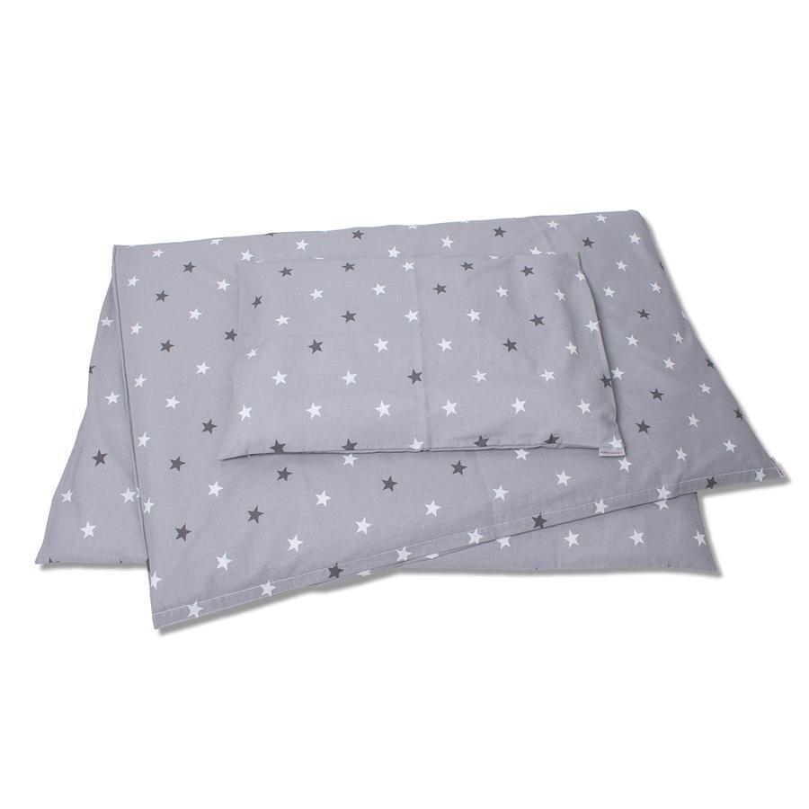 HOBEA Babybettwäsche Sternenmuster grau weiß
