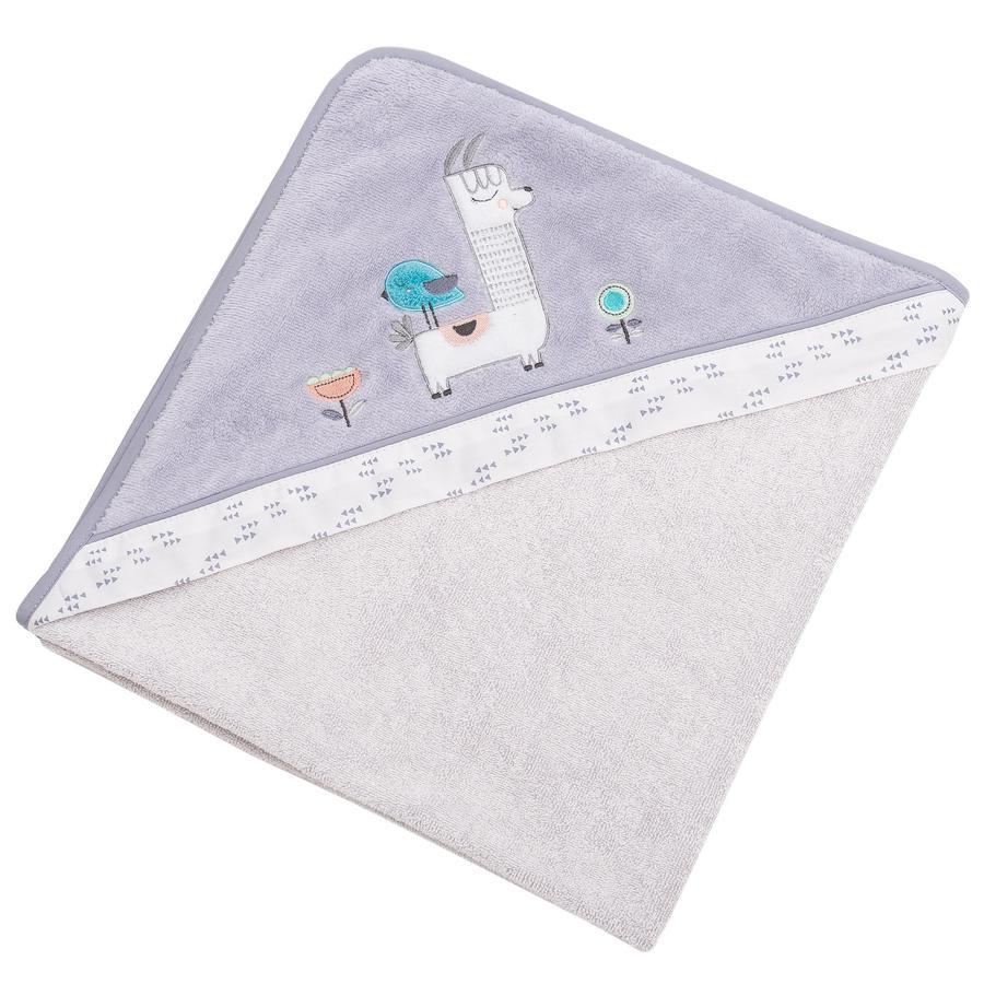 Be Be 's Collection Handdoek met capuchon Lama grijs 100 x 100 cm