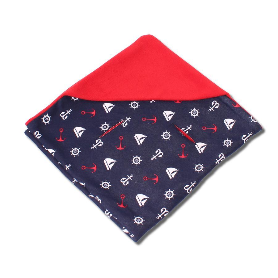 HOBEA Couverture bébé enveloppante été rouge/bleu marine