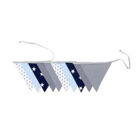 Ullenboom Pennant-kjede &   stoff krans 325 cm (10 vimpler) blå lys blå grå