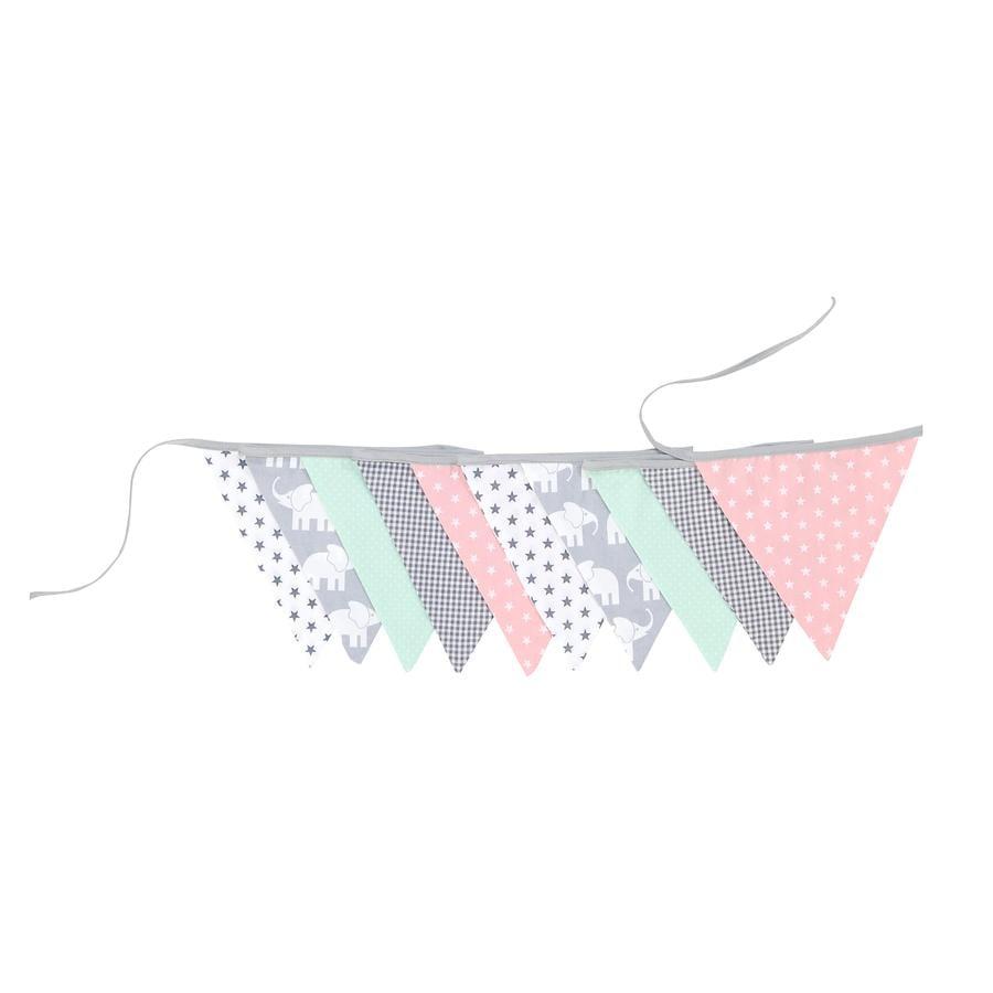 Ullenboom Łańcuch i tkanina proporczykowa i tkanina girl 325 cm (10 proporczyków) słoń Mint Rosa