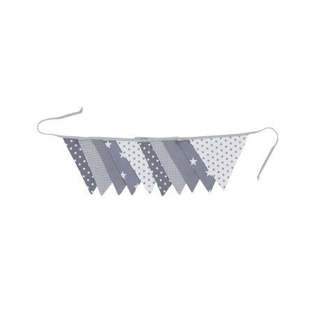 Ullenboom Vlaggenslinger stof 325 cm (10 vlaggetjes) grijze sterren