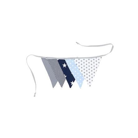 Ullenboom Cadena y tela de banderín y girl 190 cm (5 banderines) azul claro azul gris claro