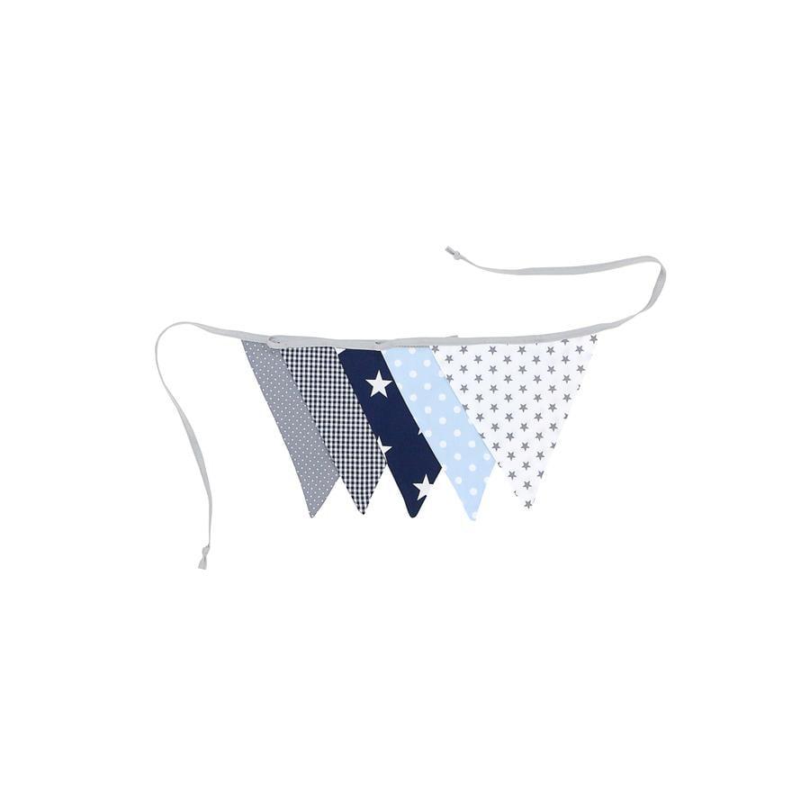 Ullenboom Vlaggenslinger stof 190 cm (5 vlaggetjes) blauw lichtblauw grijs