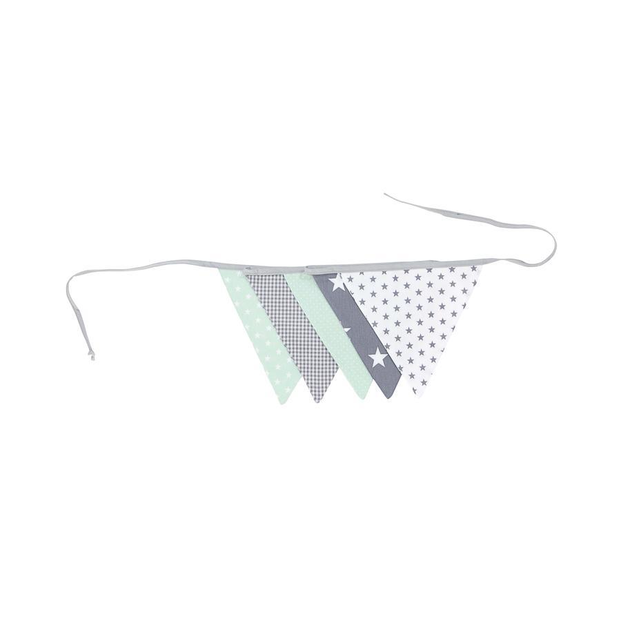 Ullenboom Pennant-kjede &   stoff krans 190 cm (5 vimpler) myt Grey