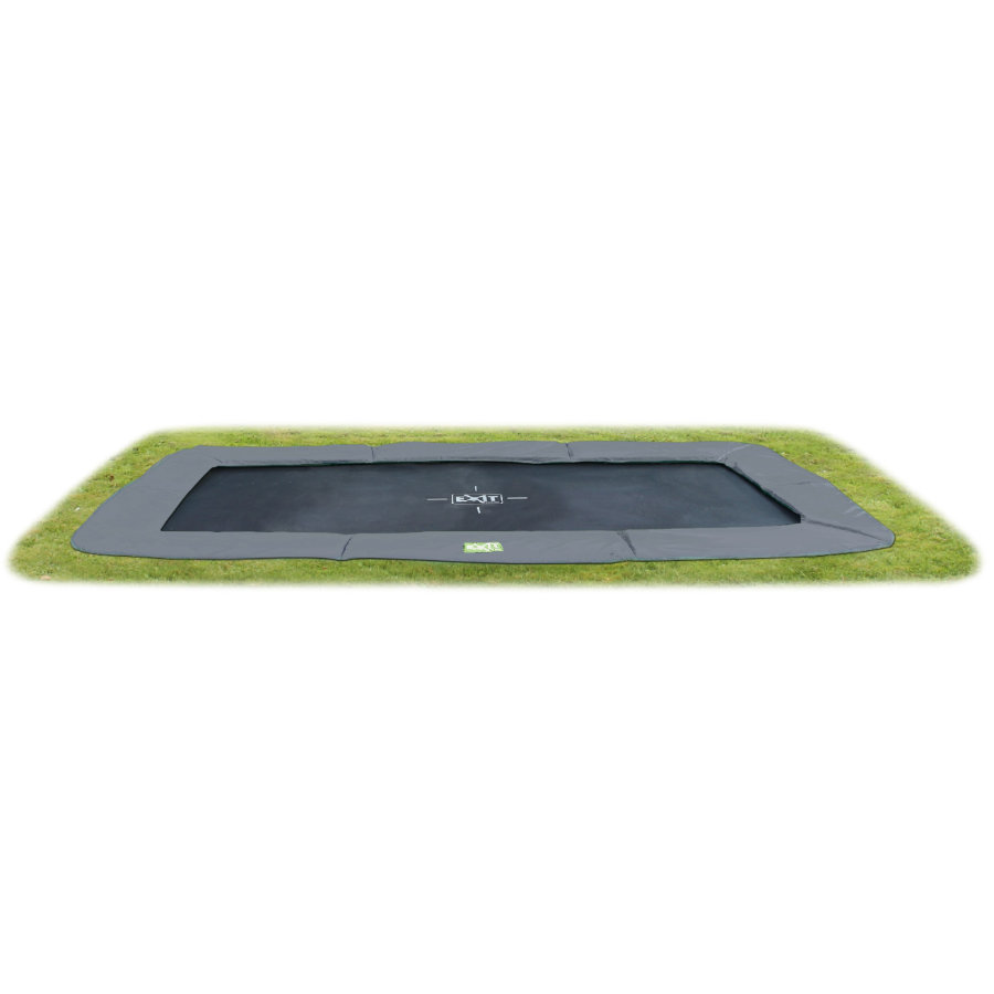 EXIT Trampolin InTerra GroundLevel 214x366cm (7x12 Ft) grå + Säkerhetsnät