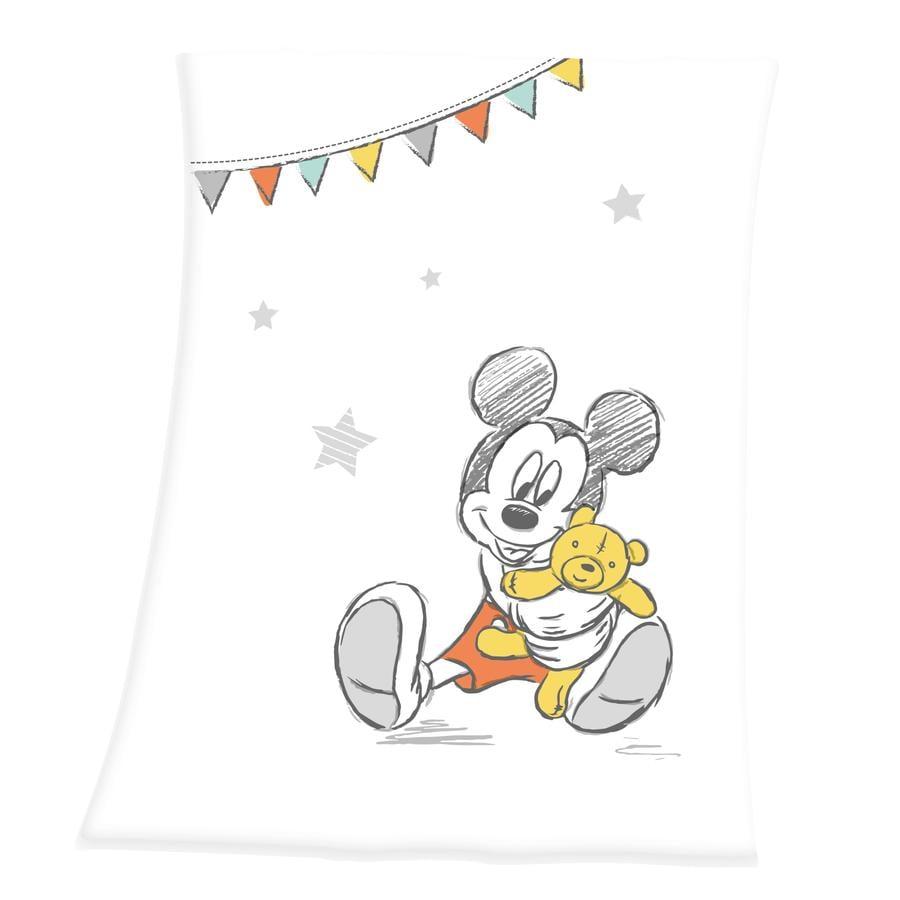 HERDING Couverture bébé soft peach Mickey 75x100 cm