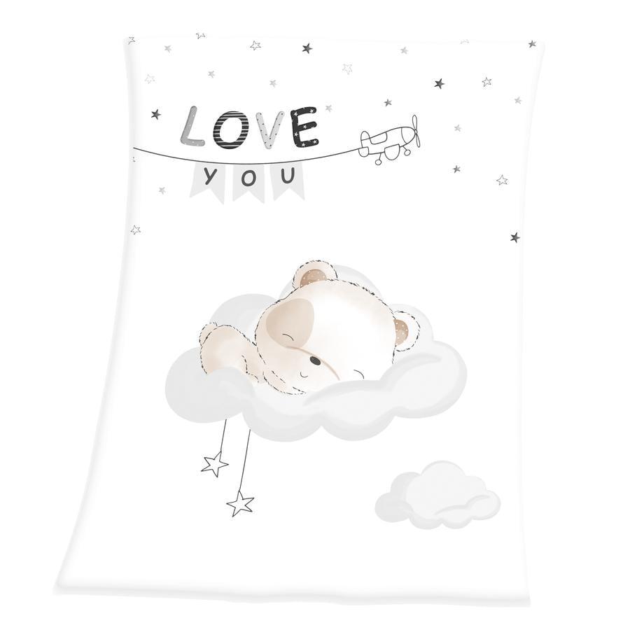 HERDING Soft Peach Filt Sleeping little bear 75x100 cm