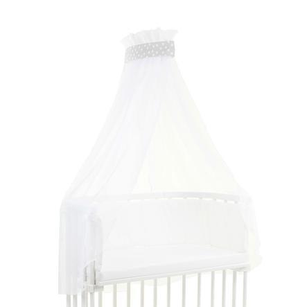 babybay baldakin stoff prikker hvite 200 x 135 cm