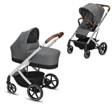 cybex GOLD Kinderwagen Balios S und Kinderwagenaufsatz Cot S Denim Edition Manhattan Grey