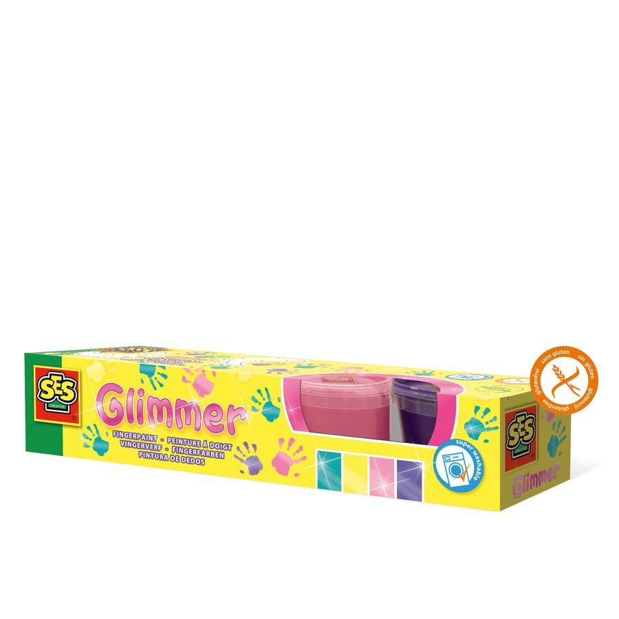 SES Creative® Funklende fingermaling Glimmer 4 farver