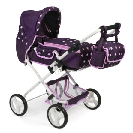 BAYER CHIC 2000 Kombi kočárek pro panenky BAMBINA Hvězdičky fialová