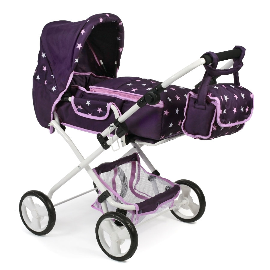 BAYER CHIC 2000 Combi Doll BAMBI carriage NA Stars Purple