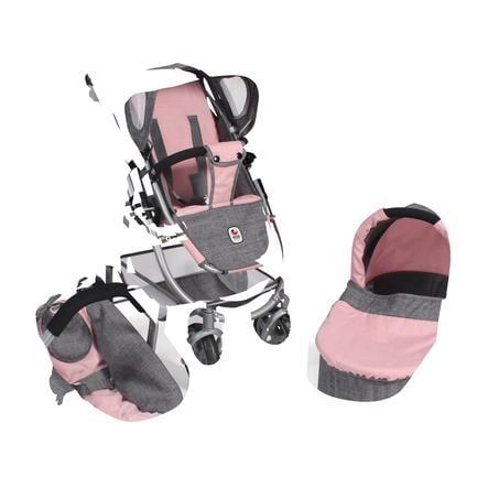 BAYER CHIC 2000 Kombi-Puppenwagen 3-in-1 Emotion all in, grau-rosa