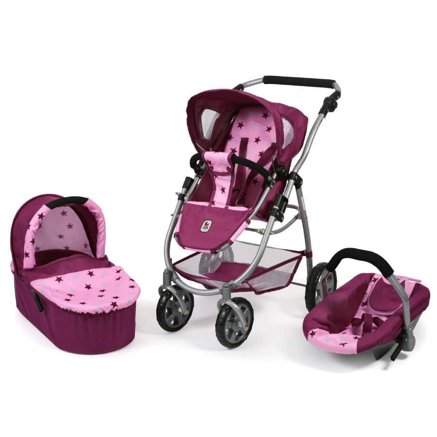 BAYER CHIC 2000 Kombi-Puppenwagen 3 in 1 EMOTION ALL IN Stars Brombeere