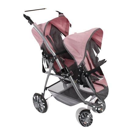 BAYER CHIC 2000 Silla de paseo gemelar para muñecas VARIO Melange gris-rosa