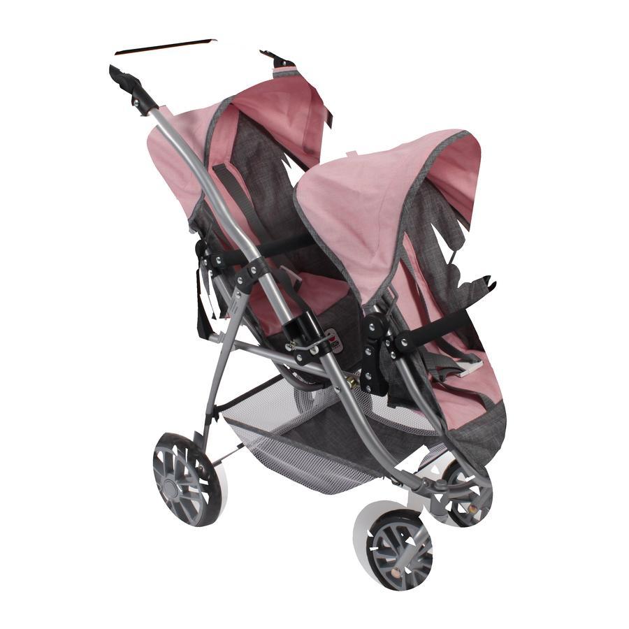 BAYER CHIC 2000 Wózek Tandem dla lalek VARIO Melange grey-rose