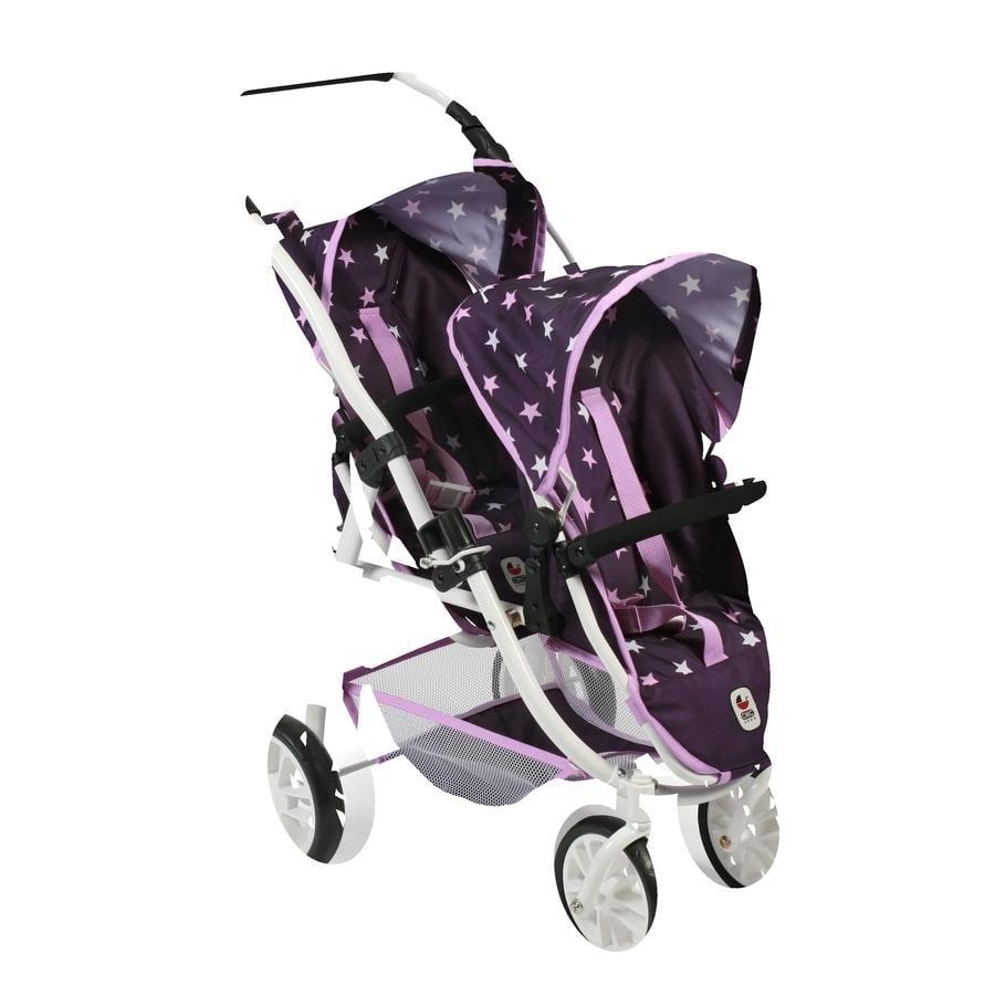 BAYER CHIC 2000 Wózek podwójny dla lalek VARIO Stars fioletowy