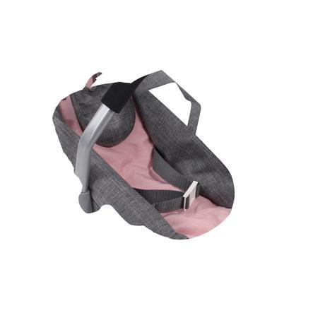 BAYER CHIC 2000 Bilbarnestol for dukke - Melange grå-rosa
