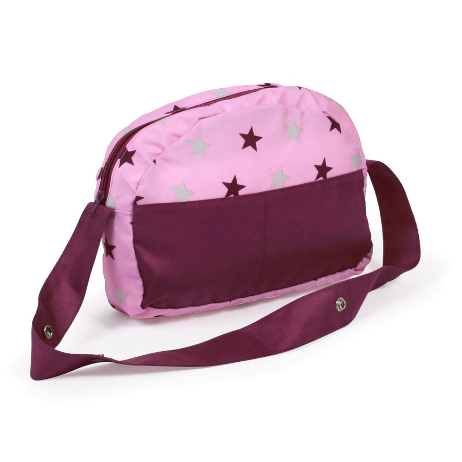 BAYER CHIC 2000 Přebalovací taška pro panenky Hvězdičky malinová