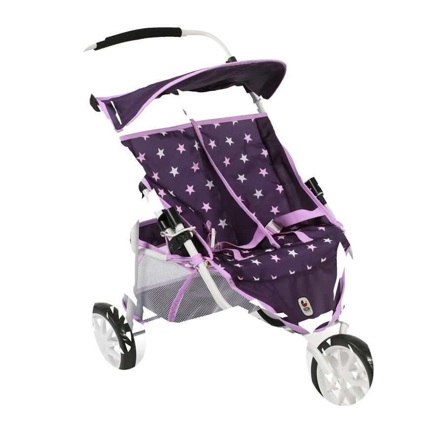 BAYER CHIC 2000 carrito gemelar de juguete Stars lila