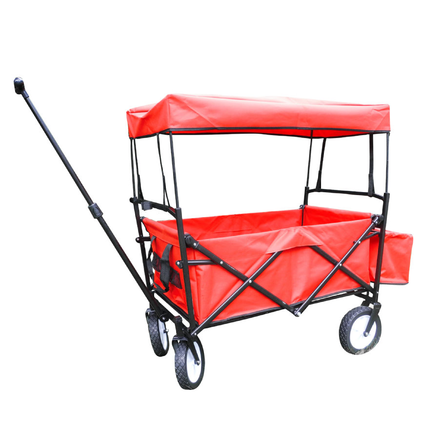 bieco klappbarer Bollerwagen mit Regenschutz, rot