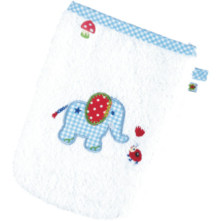 COPPENRATH Waschhandschuh Elefant Baby Glück hellblau