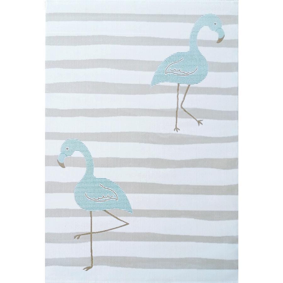 LIVONE Kids Love Rugs lek og barneteppe - Flamingo krem ??/ mynte 160 x 220 cm