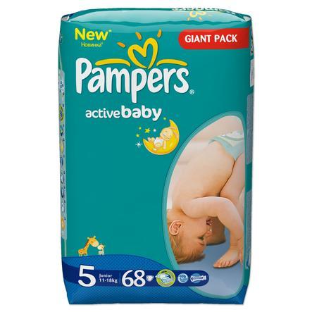 Pampers Active Baby Pieluszki Junior rozm. 5 (11-25 kg) 68 szt.