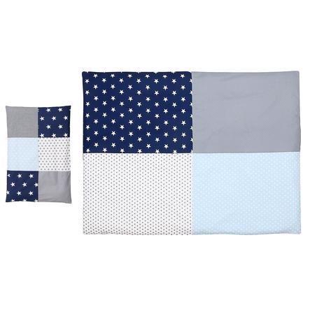 Ullenboom dětské ložní prádlo - set modrá/světle modrá/šedá 135 x 100 cm + 40 x 60 cm