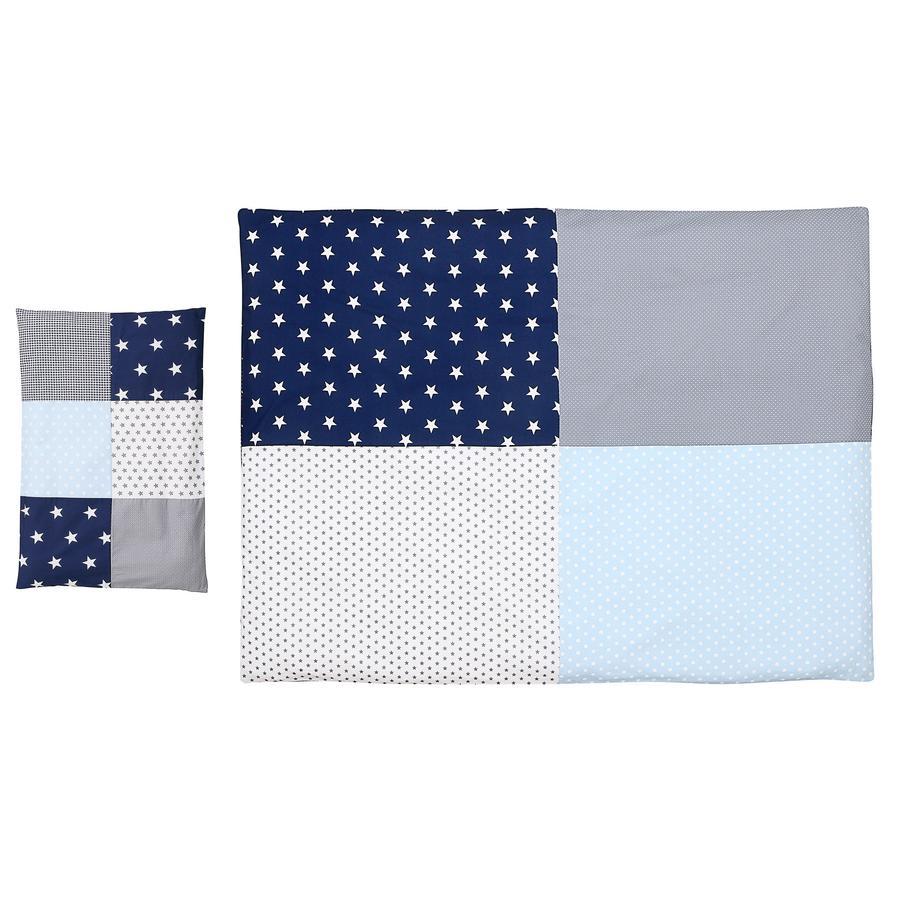 Ullenboom Biancheria da letto per bambini Set Biancheria da letto blu azzurro Azzurro Grigio 135 x 100 cm + 40 x 60 cm