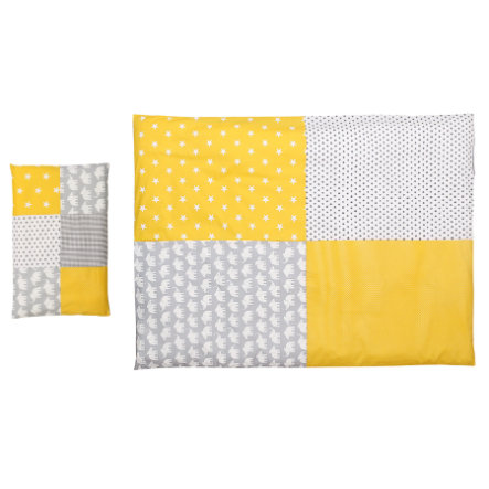 Ullenboom Pościel dziecięca zestaw pościelowy dla słonia żółty 135 x 100 cm + 40 x 60 cm