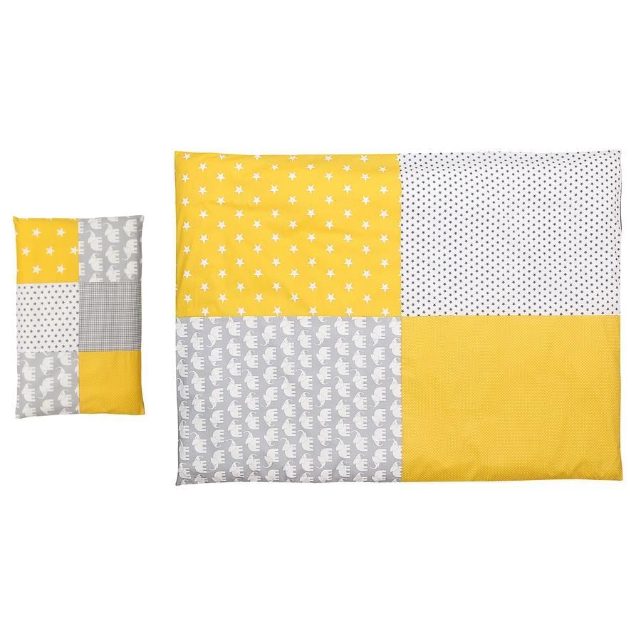 Ullenboom Set biancheria da letto per bambini elefante giallo 135 x 100 cm + 40 x 60 cm
