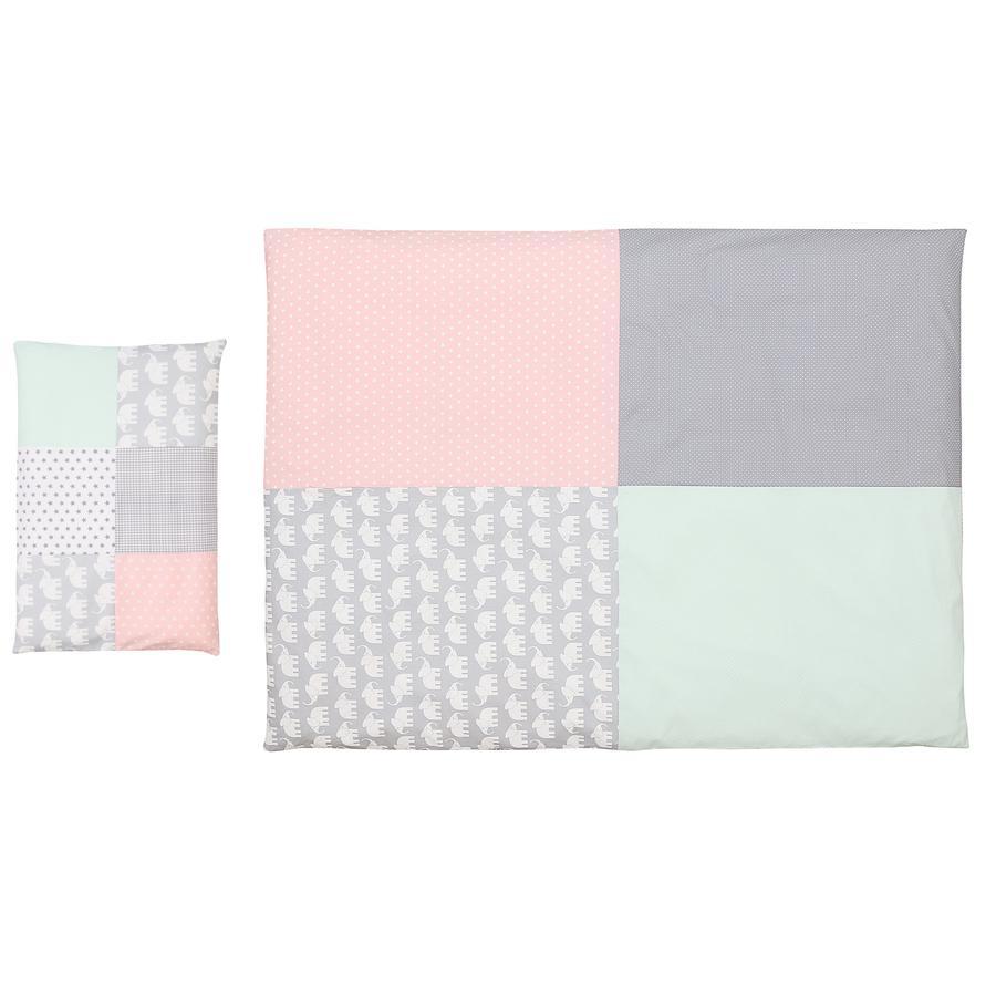 Ullenboom Conjunto de ropa de cama para niños Elefante Menta Rosa 135 x 100 cm + 40 x 60 cm