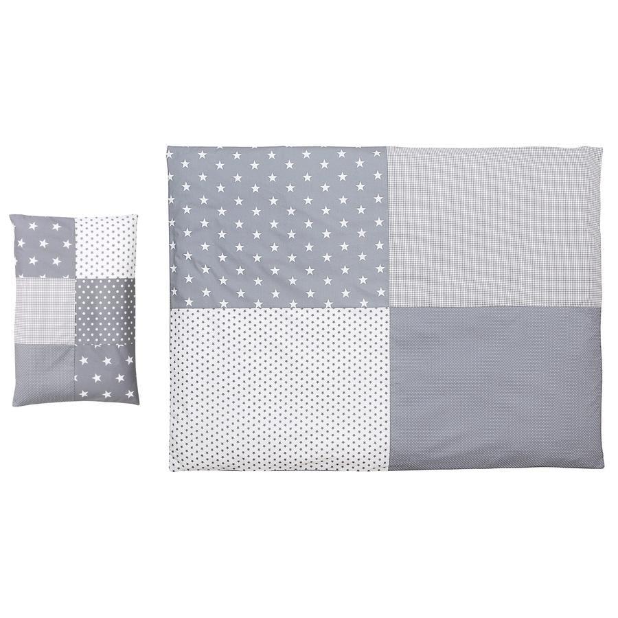 Ullenboom dětské ložní prádlo - set šedé hvězdičky 135 x 100 cm + 40 x 60 cm
