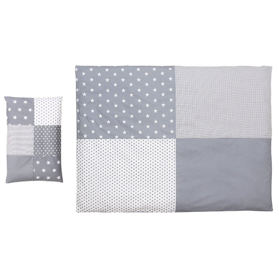 Ullenboom Set biancheria da letto per bambini stelle grigie 135 x 100 cm + 40 x 60 cm